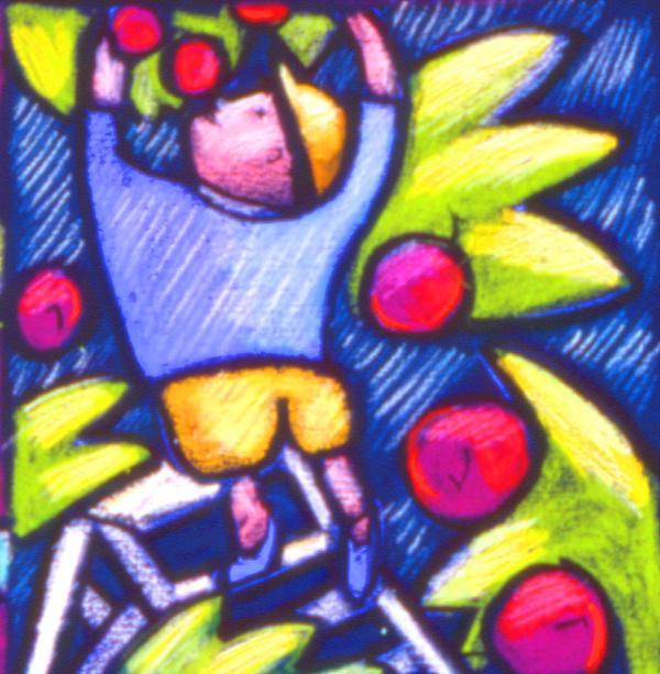 Illustration Painting - Boy Picking Apples by Angelina Marino