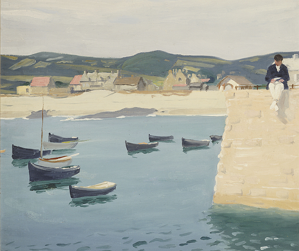 Boy Painting - Boy Reading On A Harbours Edge  by William Strang