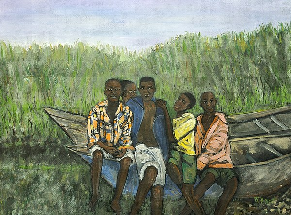 Uganda Painting - Boys Sitting On The Boat Uganda by Reb Frost