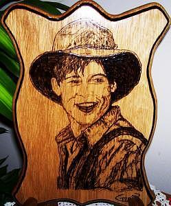 Gifts Drawing - Brad Pitt Reproduction Original Woodburn Soli Oak by Marla Gebhardt