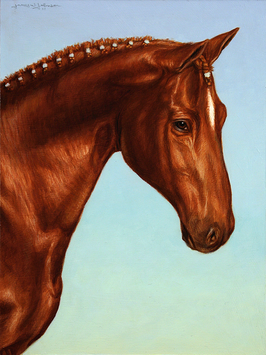 Horse Painting - Braided by James W Johnson