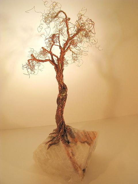 Metal Tree Sculpture - Brass-copper Tree On Crystal by Judy Byington