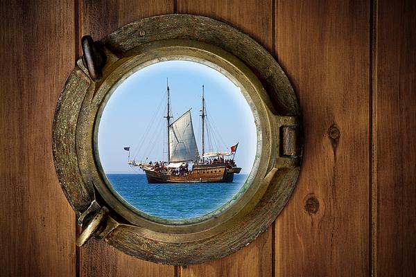 Aged Photograph - Brass Porthole by Carlos Caetano