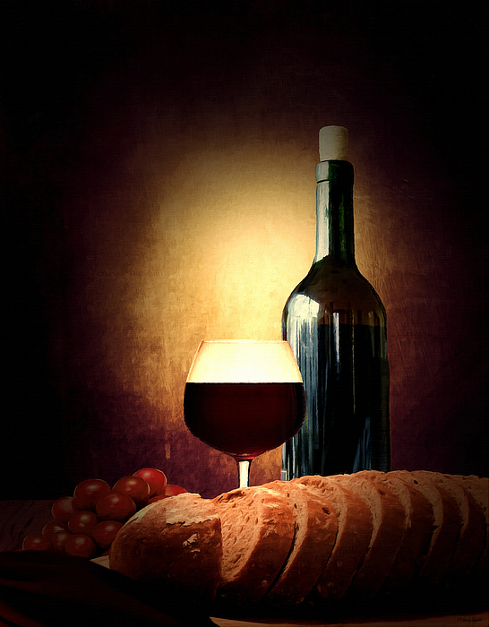 Wine Photograph - Bread And Wine by Lourry Legarde