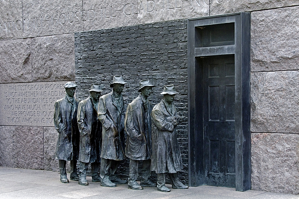 franklin Delano Roosevelt  Photograph - Breadline At The Fdr Memorial - Washington Dc by Brendan Reals