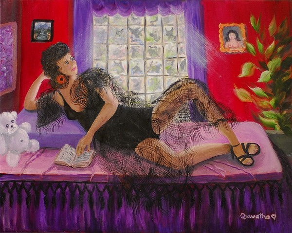 Woman Painting - Break Between Clients by Quwatha Valentine