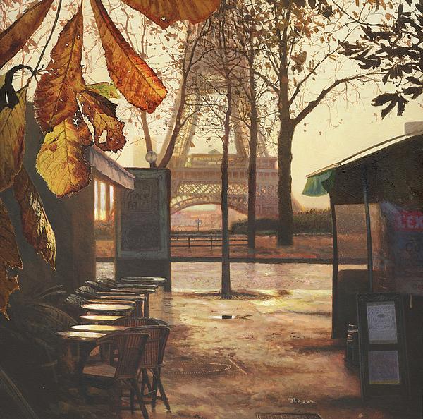 Breakfast Painting - Breakfast In Paris by Helen Parsley