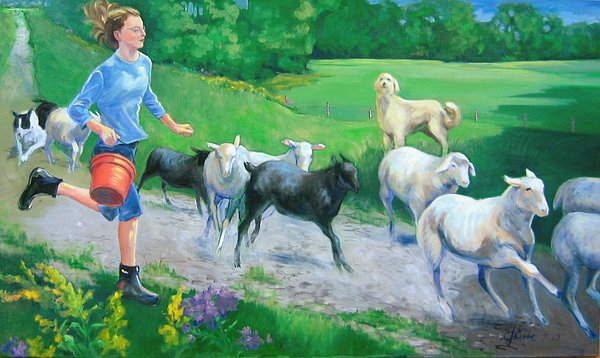 Animals Painting - Breakfast Rush by Carolyn Favor Kibbe