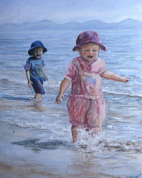 Children Painting - Breaking The Waves by Victoria Heryet