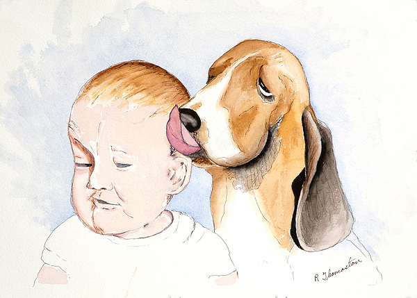 Family Painting - Bregit And Paul by Robert Thomaston