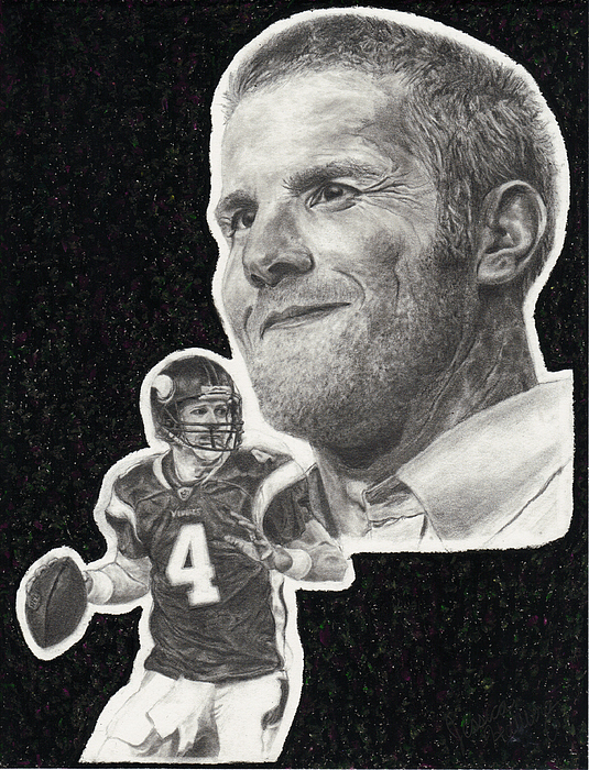 Brett Favre Drawing - Brett Favre by Jessica Hallberg