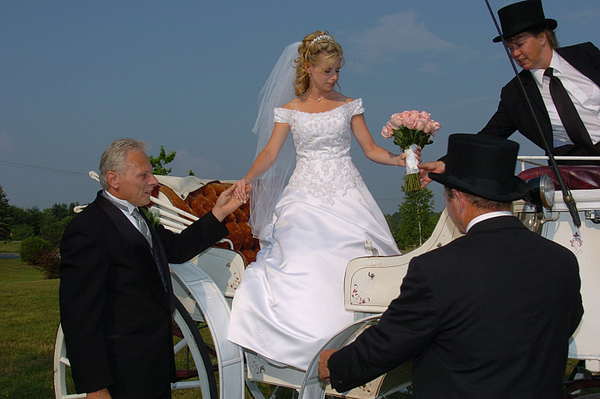 Carriage Photograph - Bride Stepping Down From Her Carriage by Mary Curtis