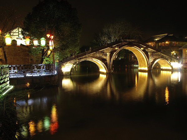 China Photograph - Bridge In Chinese Water Town by Andrew Soundarajan