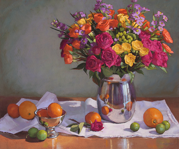 Silver Pastel - Bright Colors On A White Cloth by Sarah Blumenschein