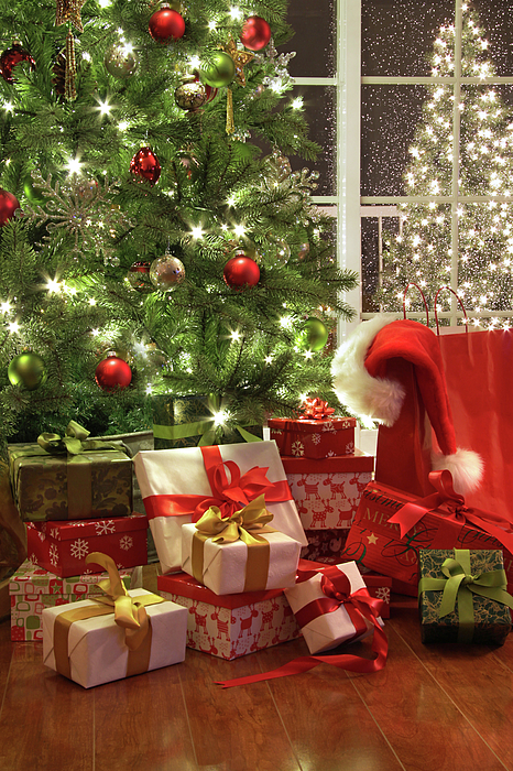 Background Photograph - Brightly Lit Christmas Tree With Lots Of Gifts by Sandra Cunningham