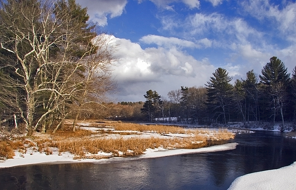 Snow Photograph - Brilliant Sky Snowy Brook by Frank Winters