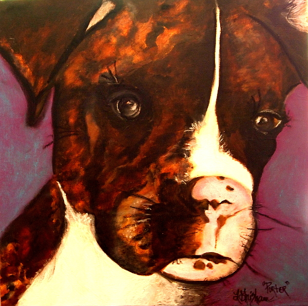 Dog Painting - Brindle Boxer Puppy- Porter by Laura  Grisham
