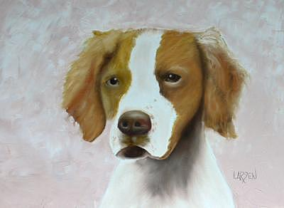 Brittany Spaniel Painting by Dick Larsen
