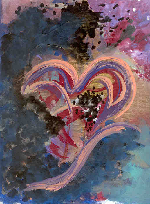 Heart Painting - Broken Hearted by Helene Henderson