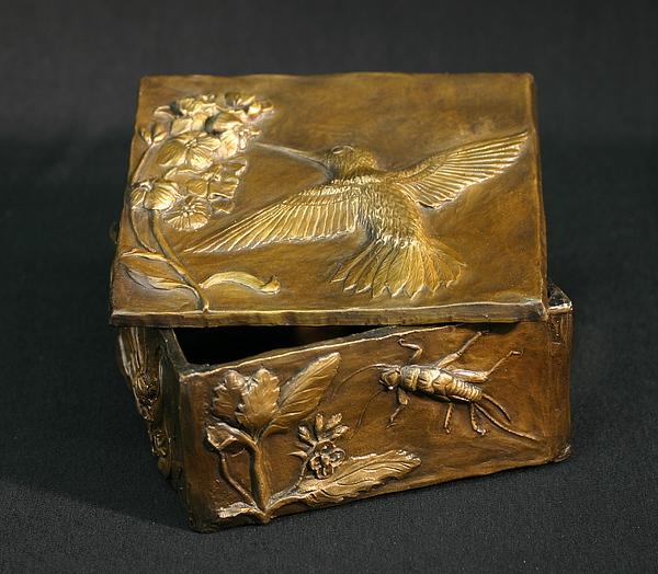 Bird Sculpture - Bronze Hummingbird Box by Dawn Senior-Trask