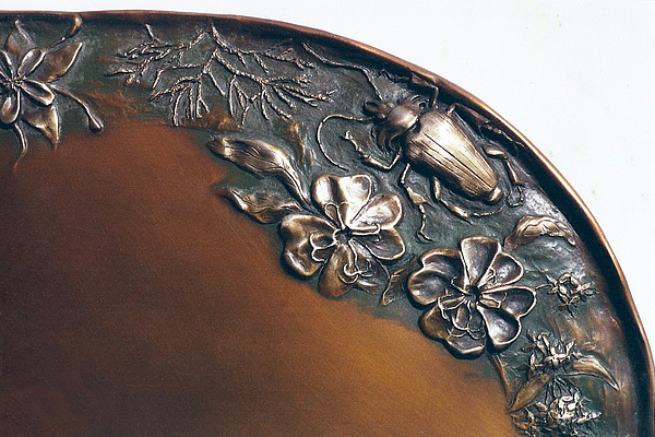 Bronze Sculpture - Bronze Tray Detail With Beetle by Dawn Senior-Trask