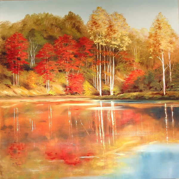 Original Painting - Brooks Pond by Diana  Tyson