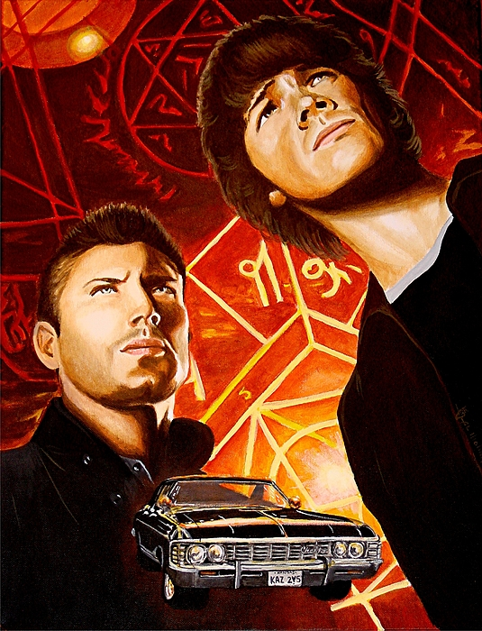 Supernatural Painting - Brothers Winchester by Al  Molina