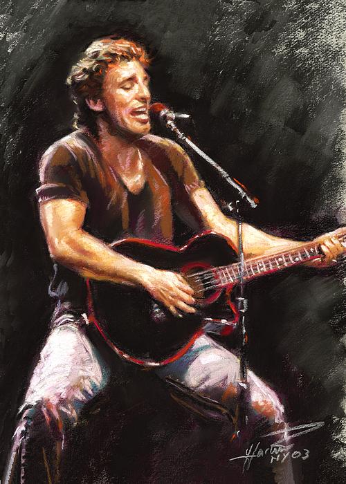 Bruce Springsteen Pastel - Bruce Springsteen  by Ylli Haruni