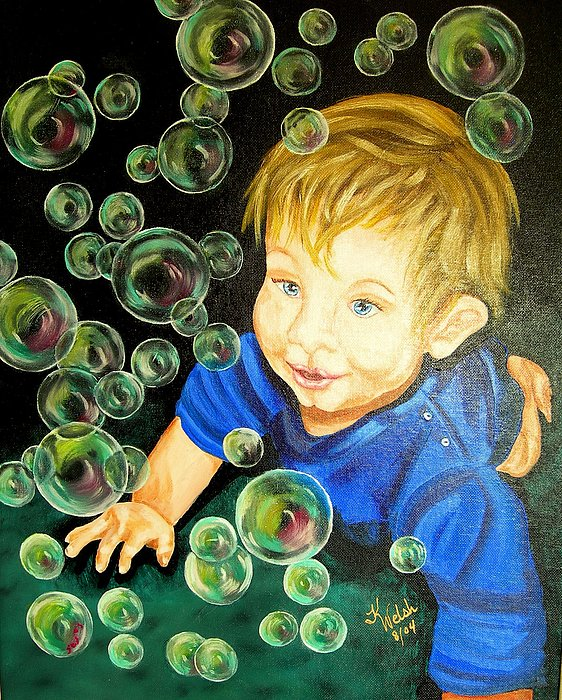 Baby Painting - Bubble Baby by Kathern Welsh
