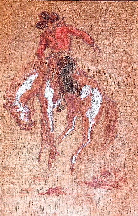 Bronco Painting - Bucking Bronco And Rider by Smart Healthy Life