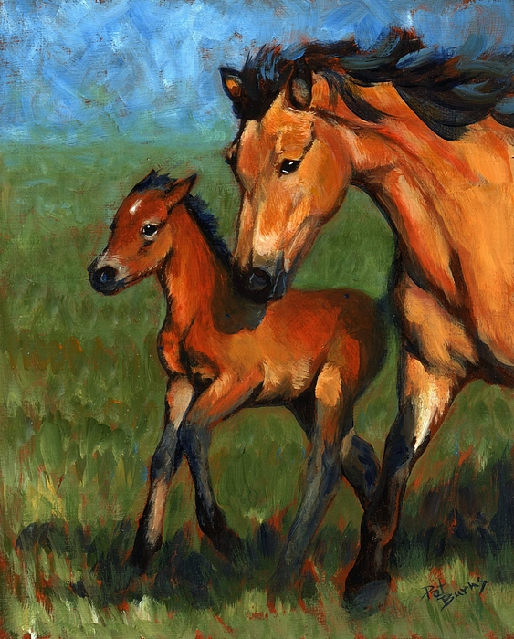 Horse Painting - Buckskin And Baby by Pat Burns
