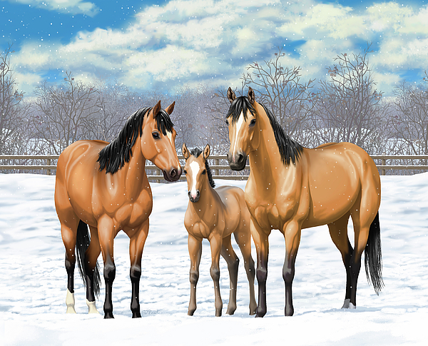 Horses Painting - Buckskin Horses In Winter Pasture by Crista Forest
