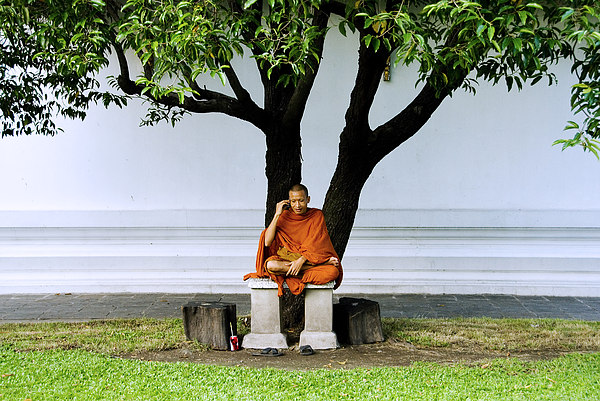 Asian Photograph - Buddhist Monk Sits Under Tree by Ray Laskowitz - Printscapes