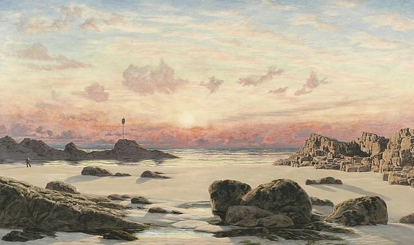 Bude Painting - Bude Sands At Sunset by John Brett