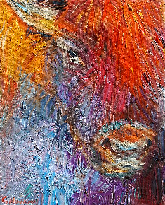 Custom Pet Portrait Painting - Buffalo Bison Wild Life Oil Painting Print by Svetlana Novikova