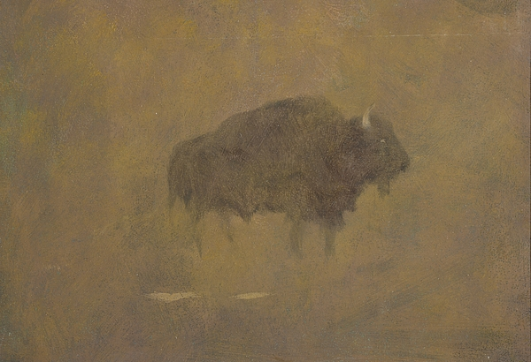 Buffalo Painting - Buffalo In A Sandstorm by Albert Bierstadt