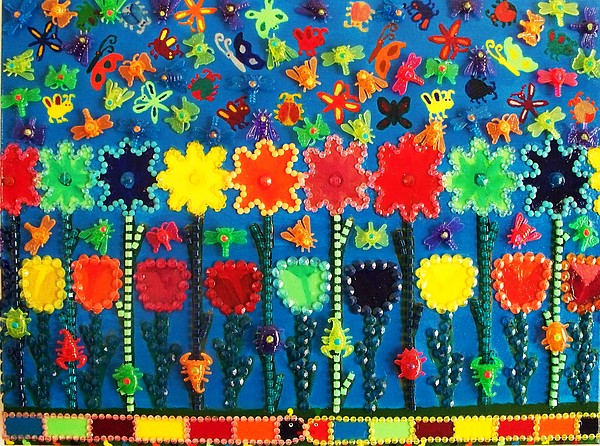 Gardens Painting - Bugs And Flowers by Ricky Gagnon