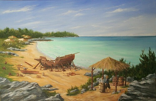 Bermuda Painting - Building The Deliverance 1610 by Christopher Grimes
