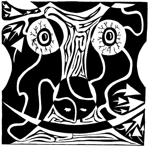 Rorschach Drawing - Bull Charging Rorschach by Yonatan Frimer Maze Artist