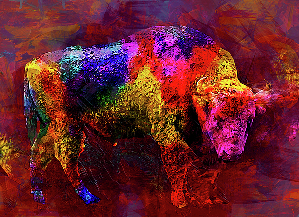 Bull Digital Art - Bull by Elena Kosvincheva