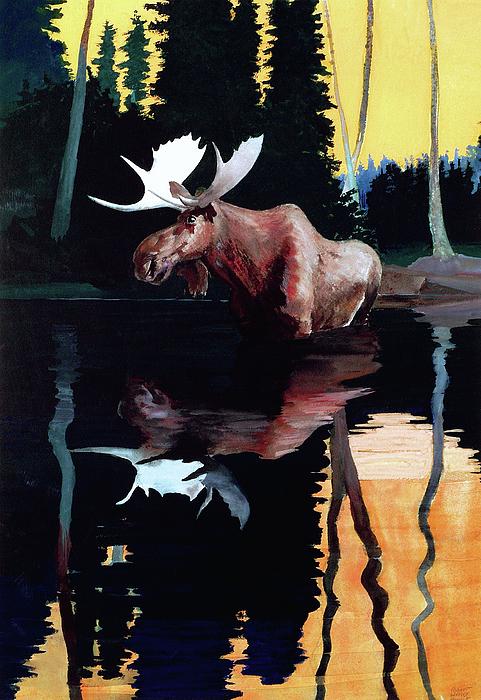 Moose Painting - Bull Moose by Robert Wesley Amick