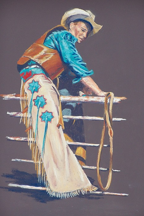 Bull Rider Painting by Lou Baggett