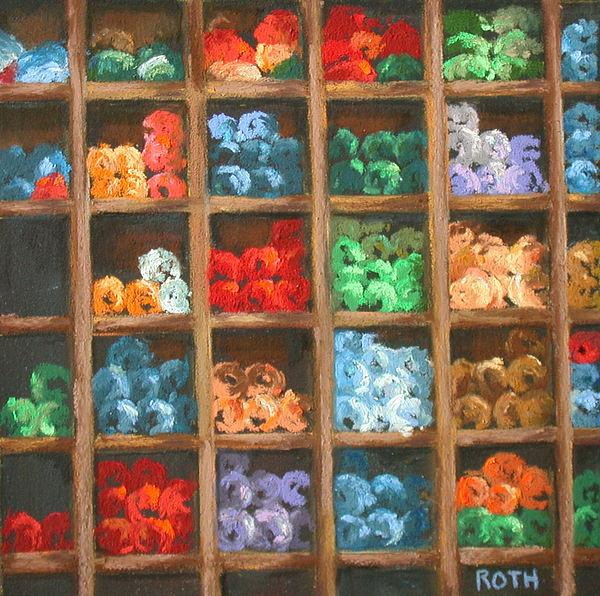Yarn Painting - Bundles Of Yarn by Linda Roth