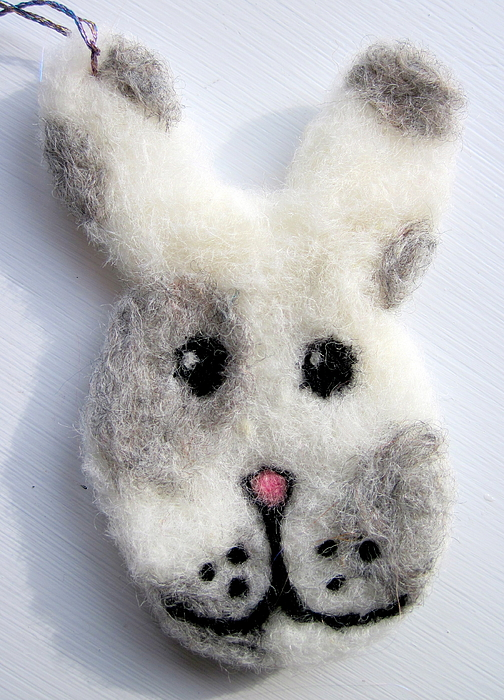 Decorative Tapestry - Textile - Bunny Ornament by Kimberly Simon