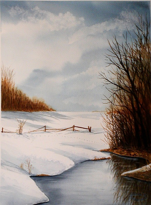 Winter Painting - Bunny Trail by Sharon Steinhaus