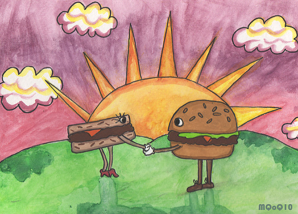 Burger Painting - Burger And Patty by Michelley QueenofQueens