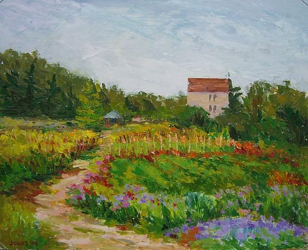 Landscape Painting - Burgundy Farmhouse With Garden by Carolyn Jones