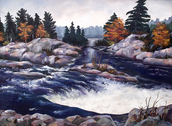 Landscape Painting - Burleigh Falls by Diane Daigle