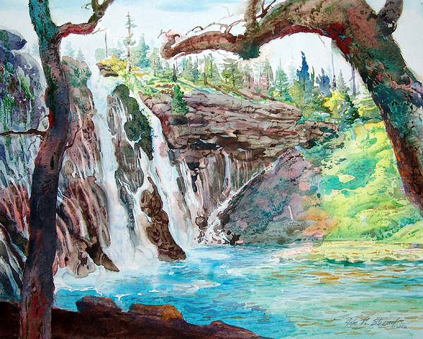 Watercolor Painting - Burney Falls by John Norman Stewart