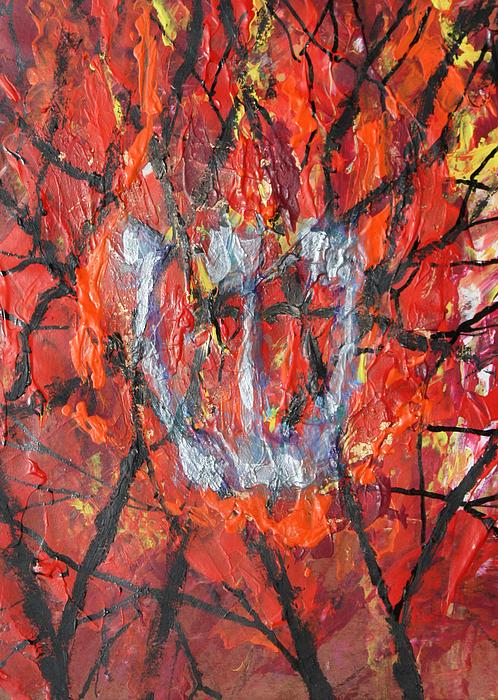 Judaica Painting - Burning Bush by Mordecai Colodner